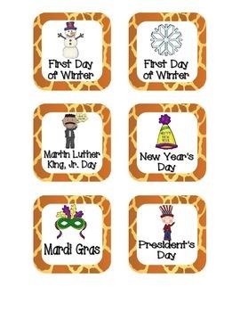 Giraffe Print Holiday Calendar Pieces