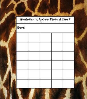 Giraffe Print Incentive Reward Chart