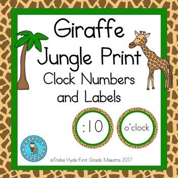Giraffe Print Jungle Clock Number and Labels