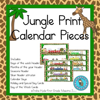Jungle Theme Calendar Numbers, Months, Days, Seasons