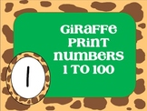 Giraffe Print Numbers 1-100