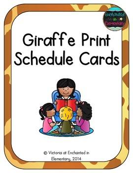 Giraffe Print Schedule Cards