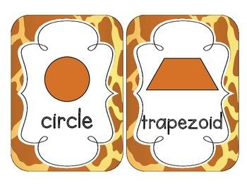 Giraffe Print Shape Cards