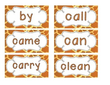 Giraffe Print Word Wall Cards