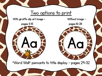 Giraffe Print Word Wall Headers