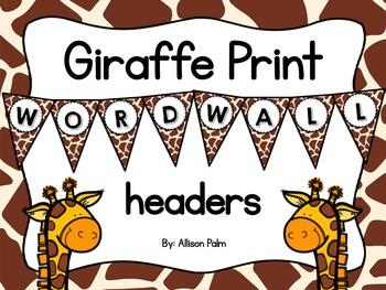 Giraffe Print Word Wall Headers