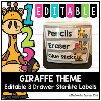Giraffe Theme - Editable 3 Drawer Sterilite Labels