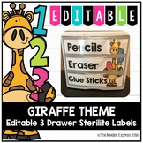 Giraffe Theme - Editable 3 Drawer Sterilite Labels