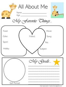 Giraffe Theme | Giraffe Activity | Giraffe Worksheet | All About Me