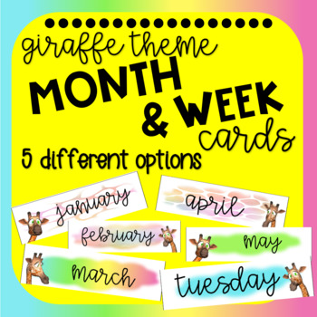 Giraffe Theme Month and Week Cards