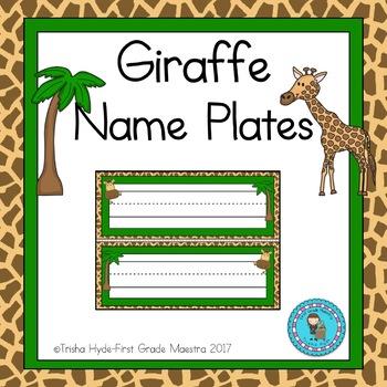 Giraffe Theme Name Plates Editable
