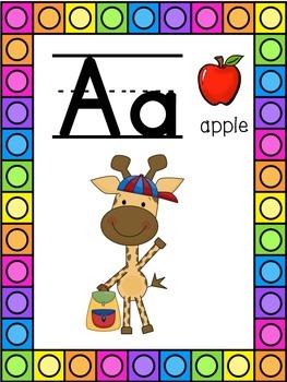 Giraffe Themed Alphabet Posters