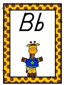 Giraffe Themed D'Nealian Alphabet Wall Display