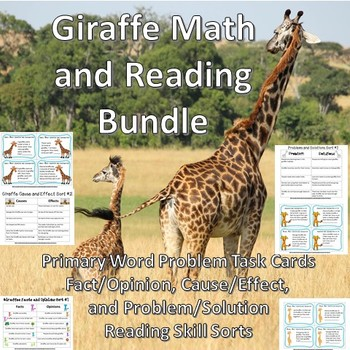 Giraffe Themed Math Task Cards and Reading Sorts Bundle