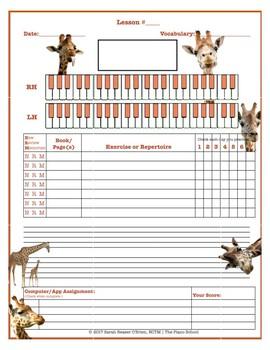 Giraffe Themed Piano Lesson Assignment Sheet