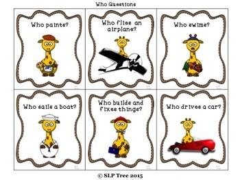 Giraffe Wh-Questions: 3 Levels
