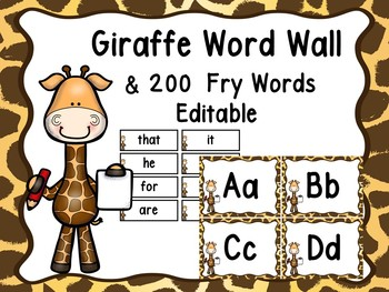 Giraffe Word Wall (Jungle Or Zoo)