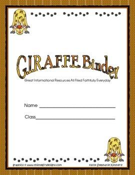 Giraffe {Zoo Animal or Safari) Binder and Folder Covers