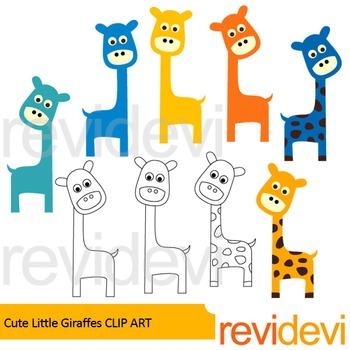 Giraffe clip art: Cute little giraffes clipart