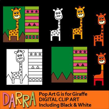 Giraffe clipart - G if for Giraffe - clip art for math and