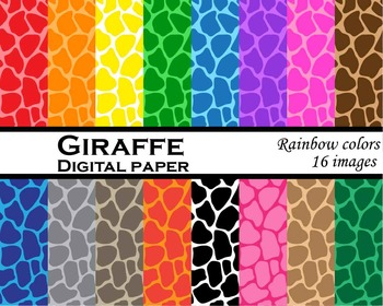 Giraffe digital paper Digital Clip Art Personal, Commercial Use 16 images cod113
