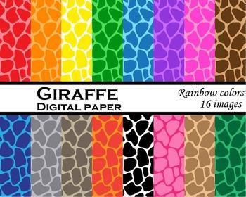 Giraffe digital paper Digital Clip Art Personal, Commercia