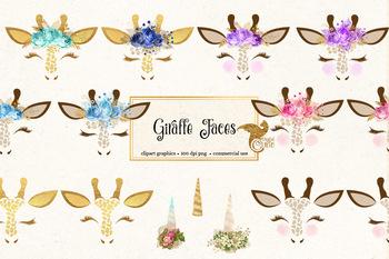 Giraffe face clipart, cute safari animal eyes, eyelashes, unicorn horns clip art