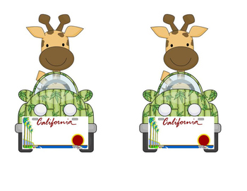Giraffe in a Car: California License Plate Name Tags