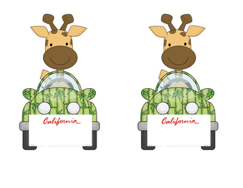 Giraffe in a Car: California License Plate Name Tags