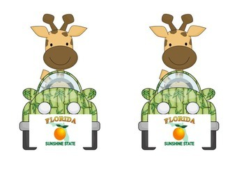 Giraffe in a Car: Florida Name Tag in a Jungle or Safari Theme