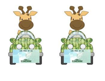 Giraffe in car: NH Name Plate or Desk Tag for jungle or safari theme