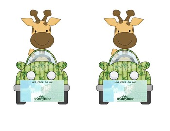 Giraffe in car: NH Name Plate or Desk Tag for jungle or safari theme