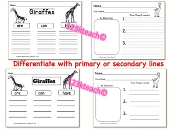 Giraffes, Writing Prompts, Graphic Organizers, Diagram