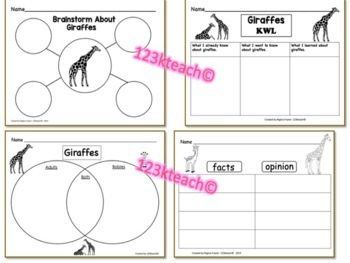 All About Giraffes, Writing Prompts, Graphic Organizers, Diagram