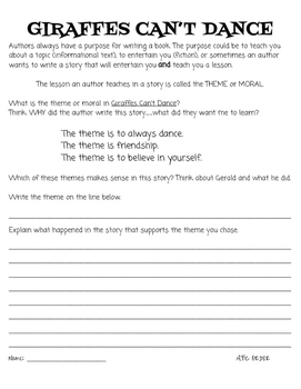 Giraffes Can't Dance: Guided Reading Activity Pack