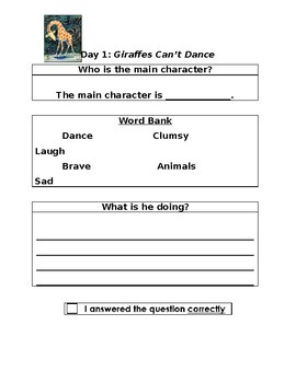 Giraffes Can't Dance: Two Day Close Reading Plan