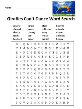 Giraffes Can't Dance Word Search