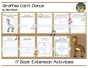 Giraffes Can't Dance by Giles Andreae 17 Book Extension Activities NO PREP