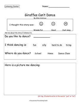 Giraffes Can't Dance by Giles Andreae - Listening Center Activity - Reading Comp