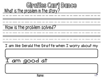 Giraffes Can't Dance Reading Response FREEBIE!