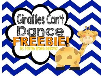 Giraffes Can't Dance Reading Response FREEBIE!