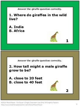 Giraffes Nature's Children Task Cards and Worksheet