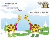 Giraffes in Winter Wonderland: Clip Art Graphics Set for W
