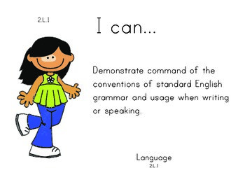 Girl 2nd grade English Common core standards posters