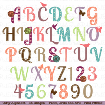 Girl Alphabet Letters Clipart and Vectors - Uppercase
