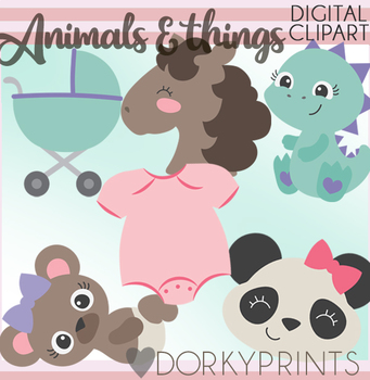 Girl Animals Clipart
