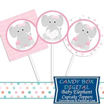 Girl Baby Elephant Cupcake Toppers and Stickers for Baby Shower