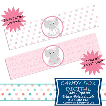 Girl Baby Elephant Water Bottle Labels and Napkin Wraps for Baby Shower