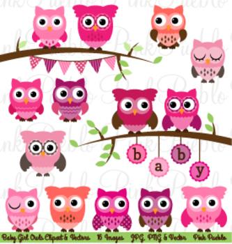 Girl Baby Shower Owl Clipart Clip Art