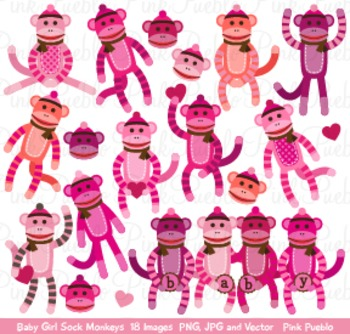 Girl Baby Shower Sock Monkeys Clipart Clip Art - Commercial and Personal Use
